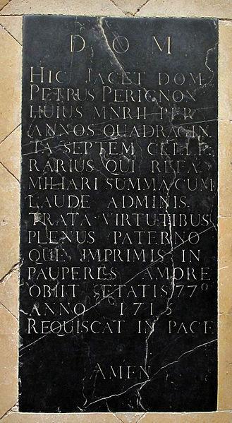 Pierre tombale de dom Pierre Pérignon à Hautvillers